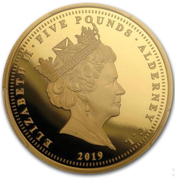 イギリスの王室属領オルダニー島エリザベス II 2019年5ポンドプルーフ金貨ウナとライオンPCGS PR70 DCAM-38763825