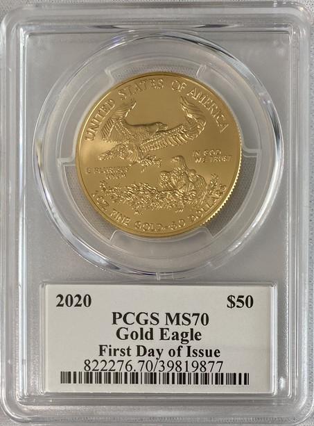 【動画あり】アメリカ50ドル金貨 ゴールドイーグル 2020年  $50PCGS MS70ファーストデイ クリーブランドサイン入り39045924