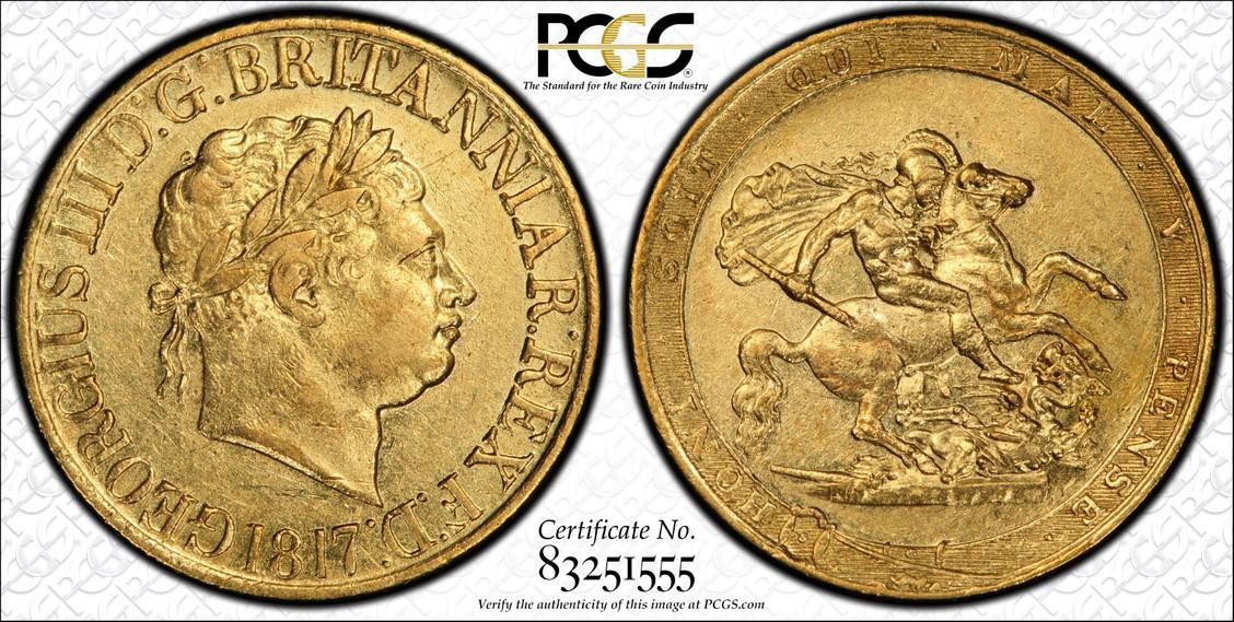 グレートブリテン ジョージ3世1817年ソブリン金貨PCGS社-AU50
