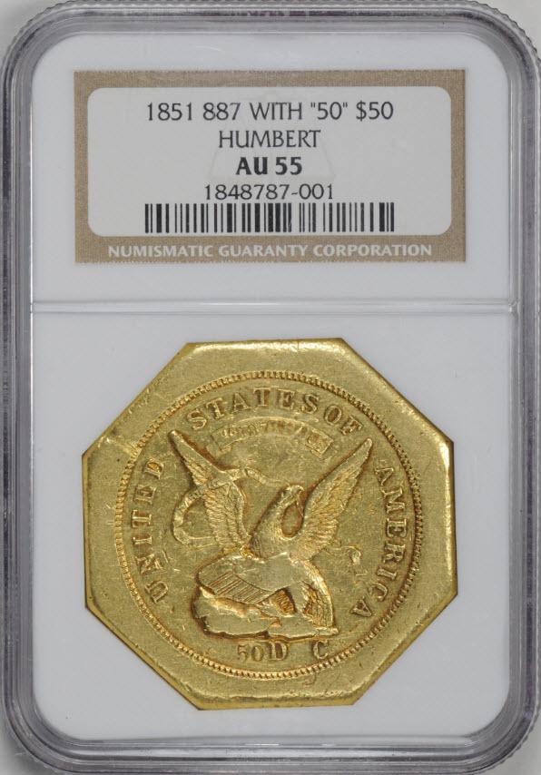 アンティークコイン アメリカ 50ドル金貨1851リバース887ハンバート $50 AU55 NGC