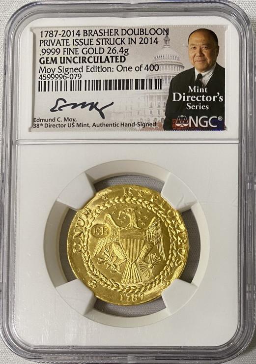 限定発行アメリカプライベート2014年ブラッシャーダブルーン純金金貨モイサイン入り