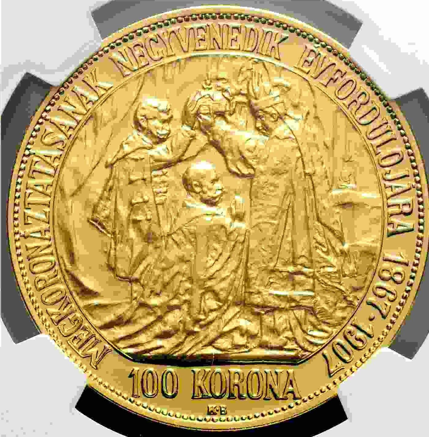 【動画あり】チェコ・スロバキア 2017年 フランツ・ヨーゼフ1世 皇帝戴冠式150周年記念 100コロナプルーフ金貨NGC-PF70