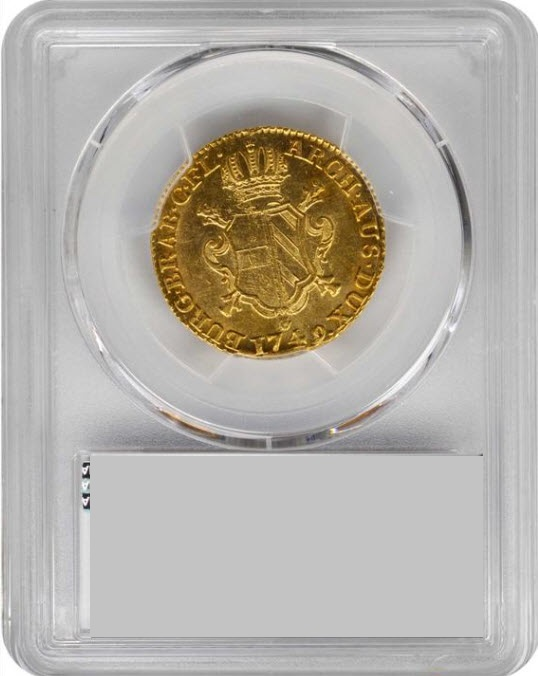 オーストリア-ネザーランドアントワープ1749-R年マリアテレジア1ソブリン金貨PCGS-MS62