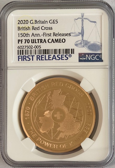 【動画あり】グレートブリテン2020年150周年ブリティッシュ・レッドクロス1オンス5ポンドプルーフ金貨NGC-PF70UCAMファーストリリース
