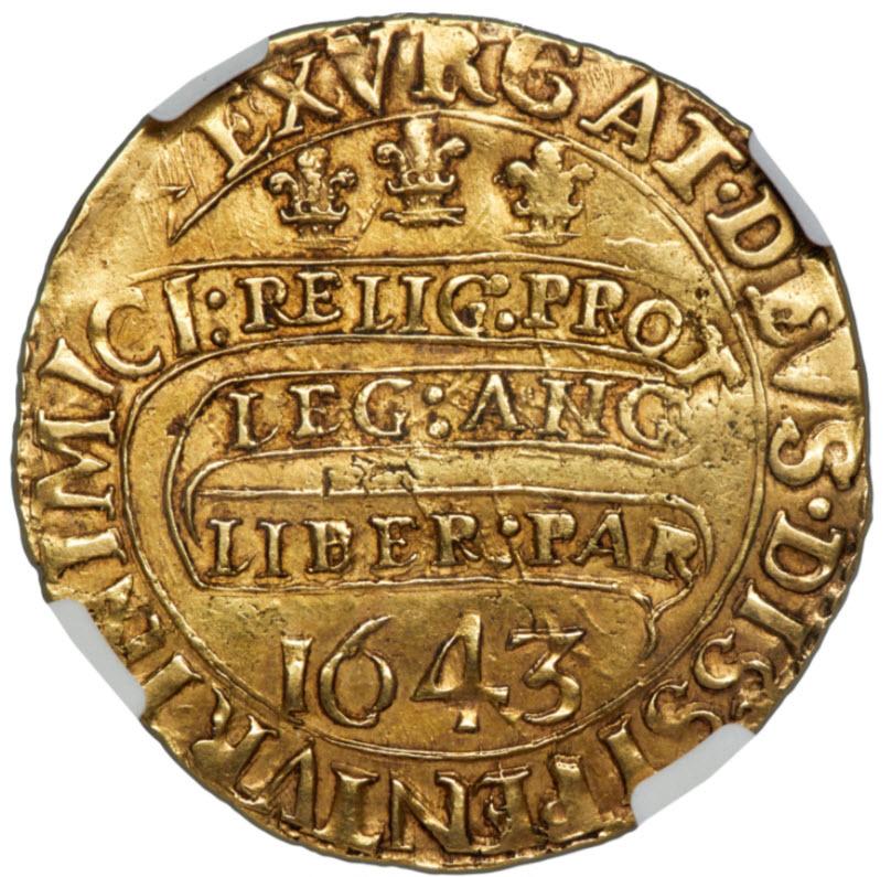 【動画あり】グレートブリテン1643年チャールズ1世 ユナイト(20シリング)金貨NGC-AU53