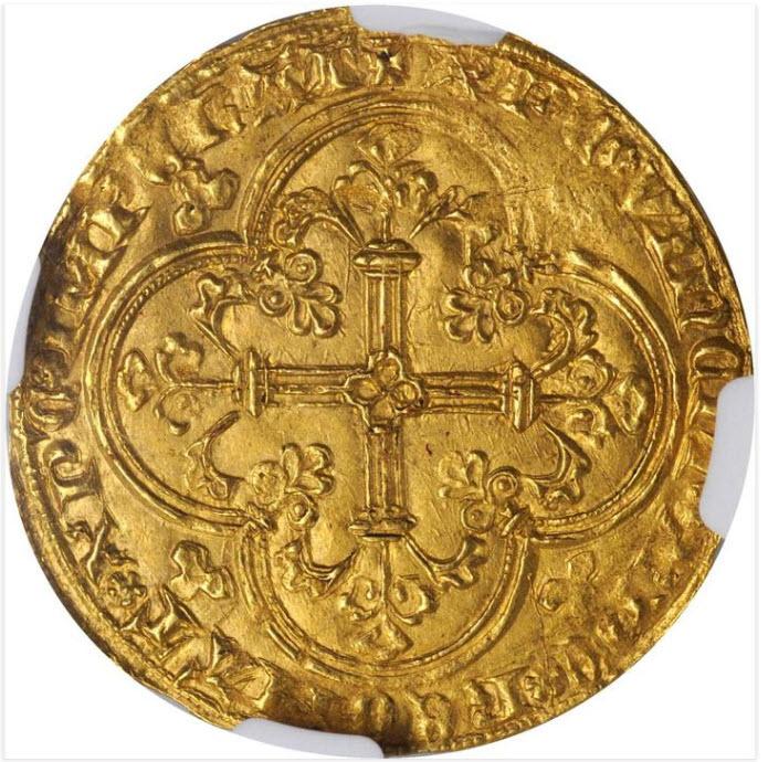 アンティークコイン フランス-フランシュヴァル金貨(1350-64) ジャンII世-NGC-MS-63