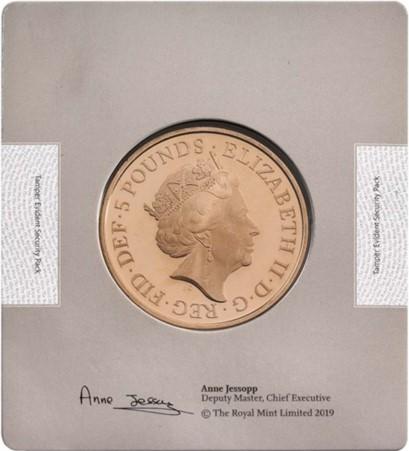 グレートブリテン-トライアル・オブ・ザ・ピクス2018年エリザベスII世65周年記念サファイアコロネーション5ポンド金貨ブック付き5