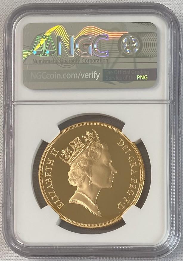 グレートブリテン 1996年エリザベス5ポンドプルーフ金貨NGC-PF70UCAM