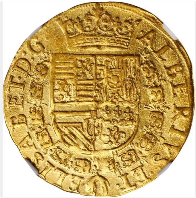 【動画あり】アンティークコイン-1600年スペイン-オランダ-ブラバント- 2アルベルティン-アントワープミントNGC-AU55