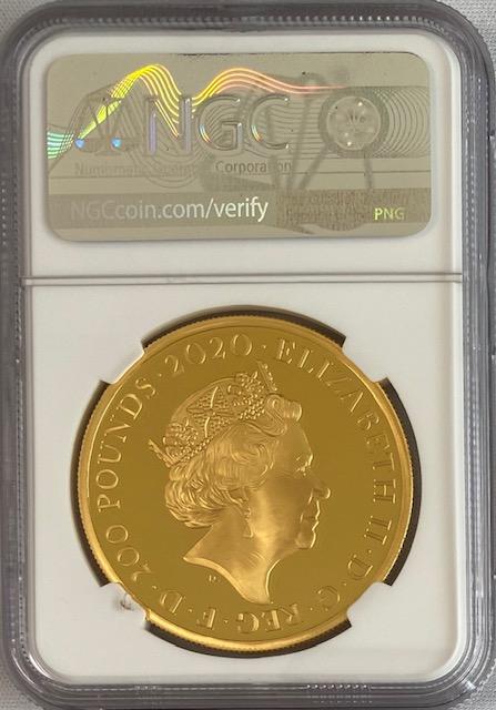 【動画あり】グレートブリテン2020年エリザベスII世2オンス200ポンドプルーフ純金金貨ジェームズボンド007NGC-PF70UCAM