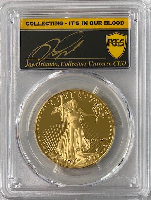 【動画あり】アメリカ50ドル金貨ゴールドイーグル1986-W年$50PCGS-PR70DCAMジョー・オーランドサイン入り38800463