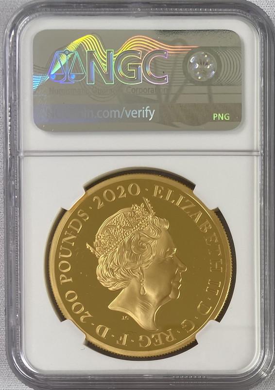 グレートブリテン2020年ジョージ3世2オンス200ポンドプルーフ金貨 NGC-PF70UCAMファーストデイオブイシュー