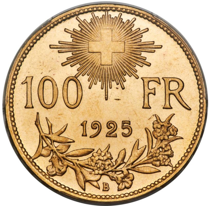 アンティークコイン スイス1925-B年アルプスの少女 ブレネリ100フラン金貨PCGS-MS65+