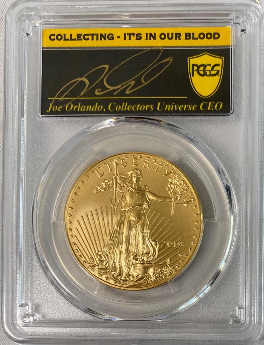 【動画あり】アメリカ50ドル金貨ゴールドイーグル2019-Wバーニッシュ $50PCGS-SP70ファーストストライク-ジョー・オーランドサイン入り37198166