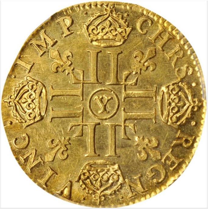 フランス1653-Y年ルイ14世1ルイドール金貨PCGS-MS62