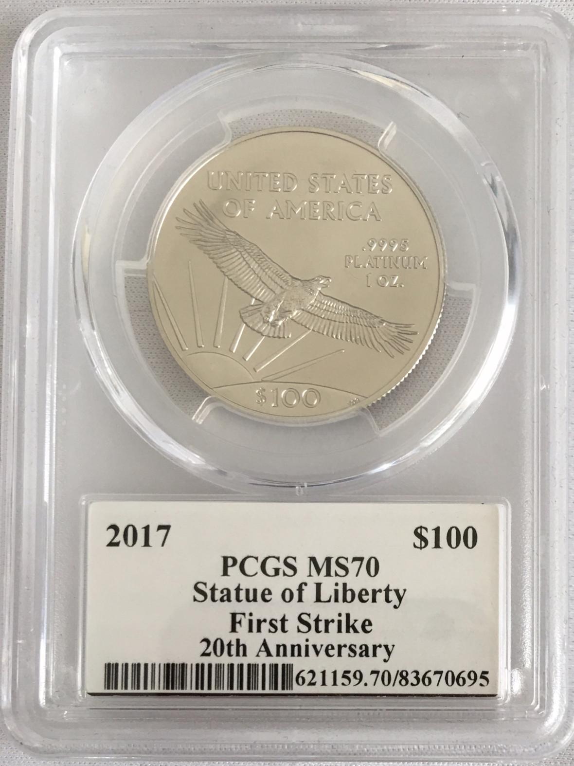 プラチナイーグル 100ドル 1オンス2017 $100 Platinum Eagle MS70 PCGSファースト ストライク マーカンティサイン入り