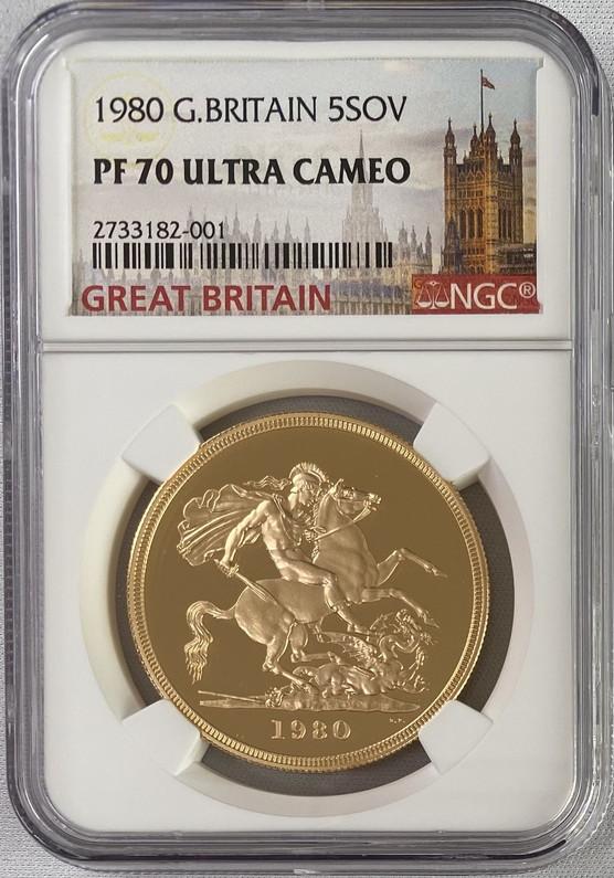 グレートブリテン1980年エリザベス女王5ポンド(第二世代)金貨NGC-PF70UCAM
