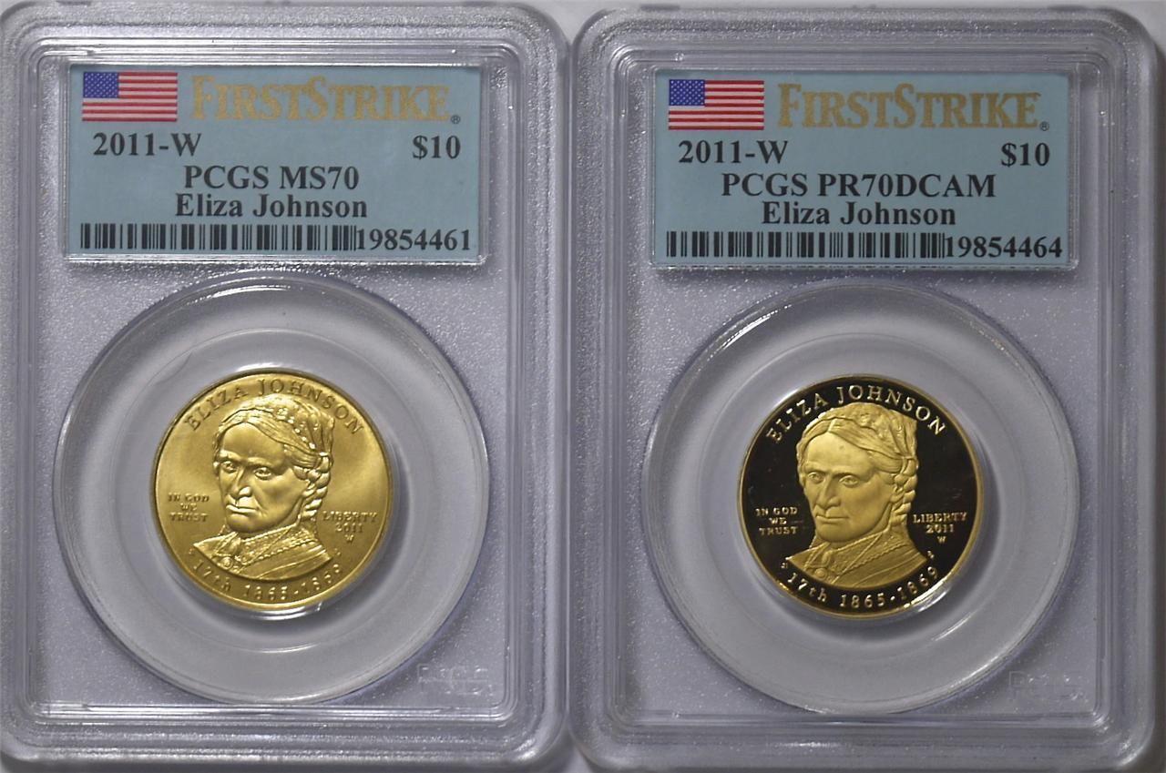 【動画あり】2枚セット 2011-W 10ドル金貨 イライザジョンソン $10 PCGS MS-70 アンド PR70-DCAM ファーストストライク