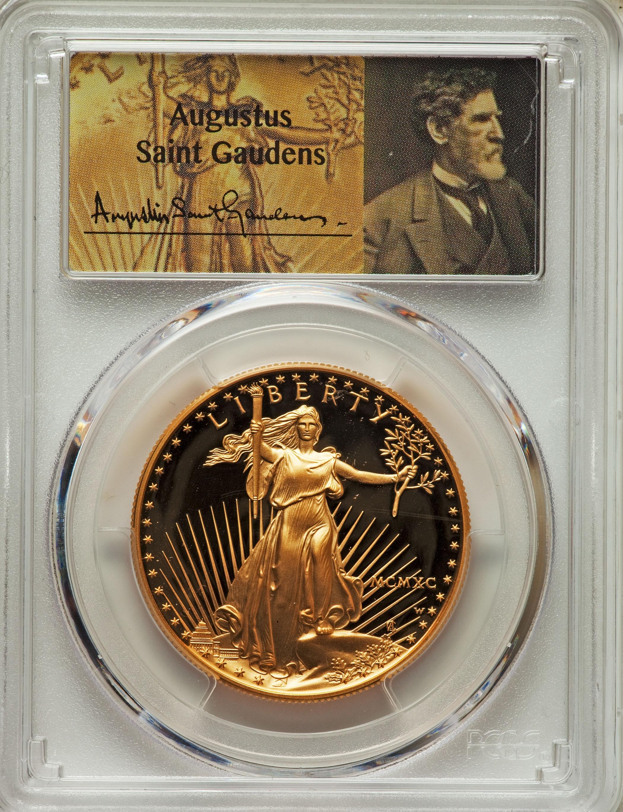 【動画あり】50ドル金貨 ゴールドイーグル 1990W GOLD EAGLE  $50 PCGS PR70DCAM セントゴーデンズサイン入り完全未使用