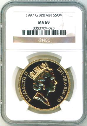 【残存2枚】1997 グレートブリテン5ソブリン金貨 NGC MS69
