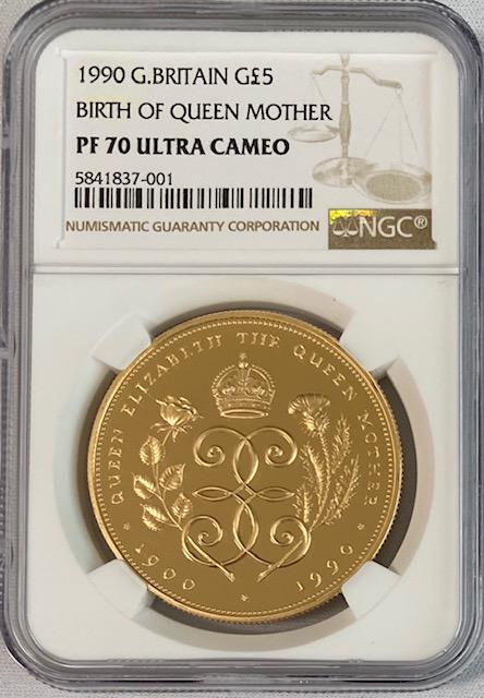 グレートブリテン1990年エリザベスII世クイーンマザー生誕5ポンドプルーフ金貨NGC-PF70UCAM
