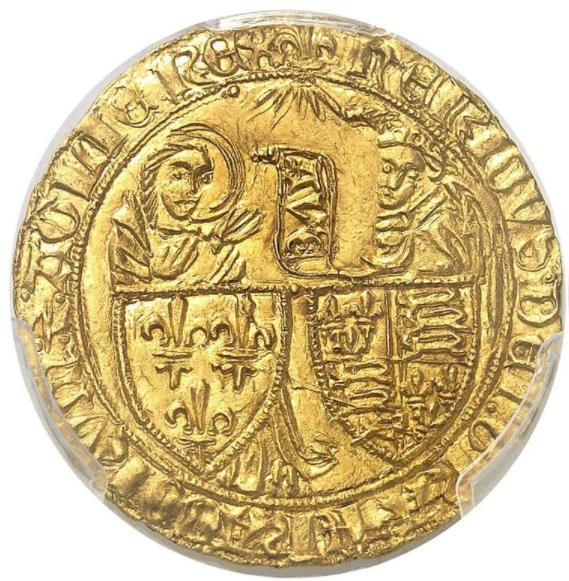 フランス-アングロガリック-フランス&イングランドヘンリー6世(1422-53) ゴールドサルトドールPCGS-MS63