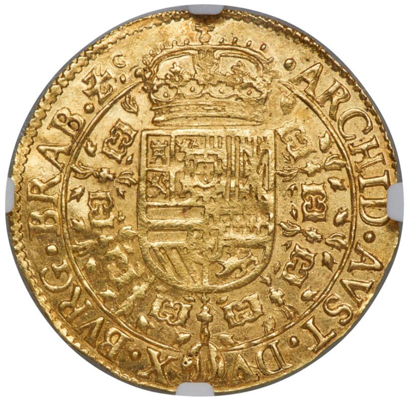 スパニッシュ・ネザーランド1644年フィリップ4世2ソブリン・ドールNGC-MS63