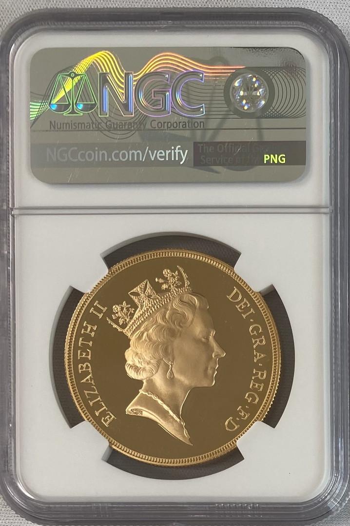 【動画あり】グレートブリテン 1997年エリザベス5ポンドプルーフ金貨NGC-PF70UCAM