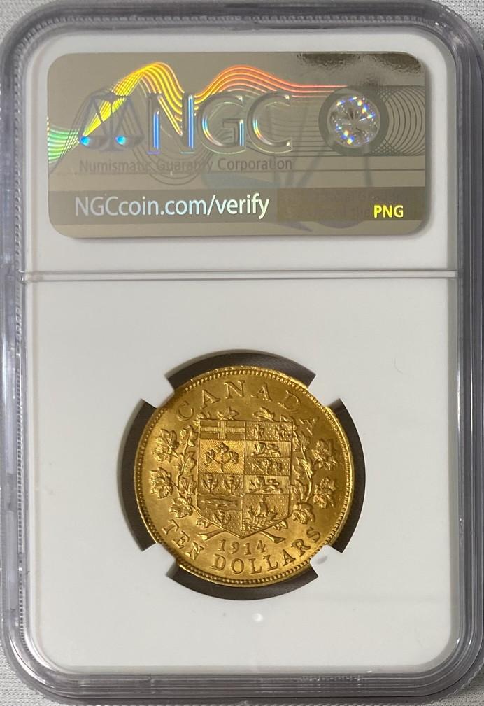 カナダ-1914年ジョージ5世10ドル金貨NGC-MS62