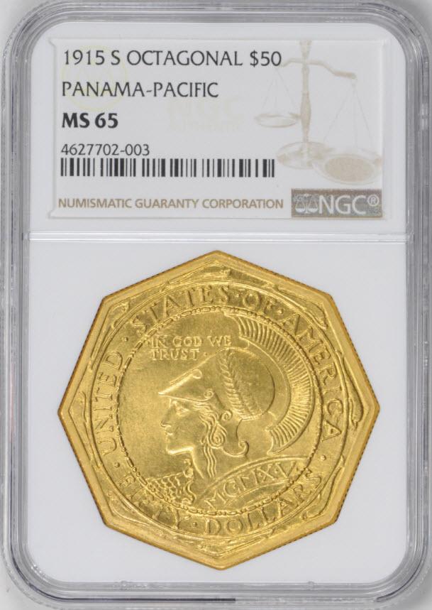 アメリカアンティークコイン50ドル パナマパシフィック金貨1915-S Octa $50 NGC MS65-4627702-003