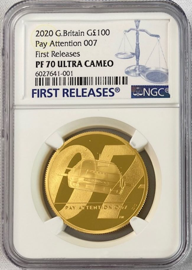 グレートブリテン 2020年 エリザベスII世 1オンス100ポンドプルーフ純金金貨 ジェームズボンド2nd ペイアテンション007 NGC-PF70 UCAM ファーストリリース