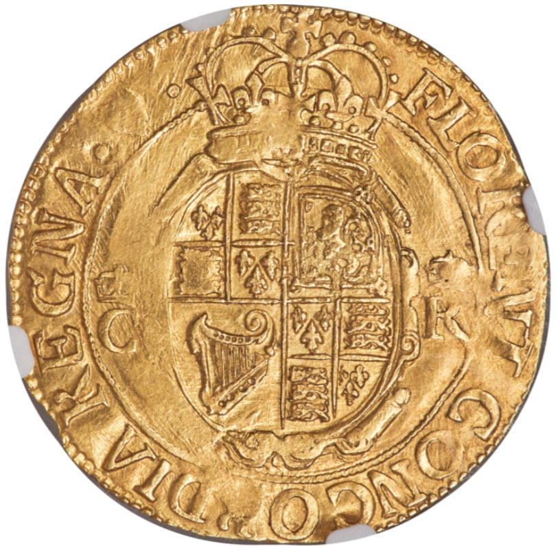 グレートブリテン1632-33年チャールズ1世 ユナイト(20シリング)金貨NGC-MS61