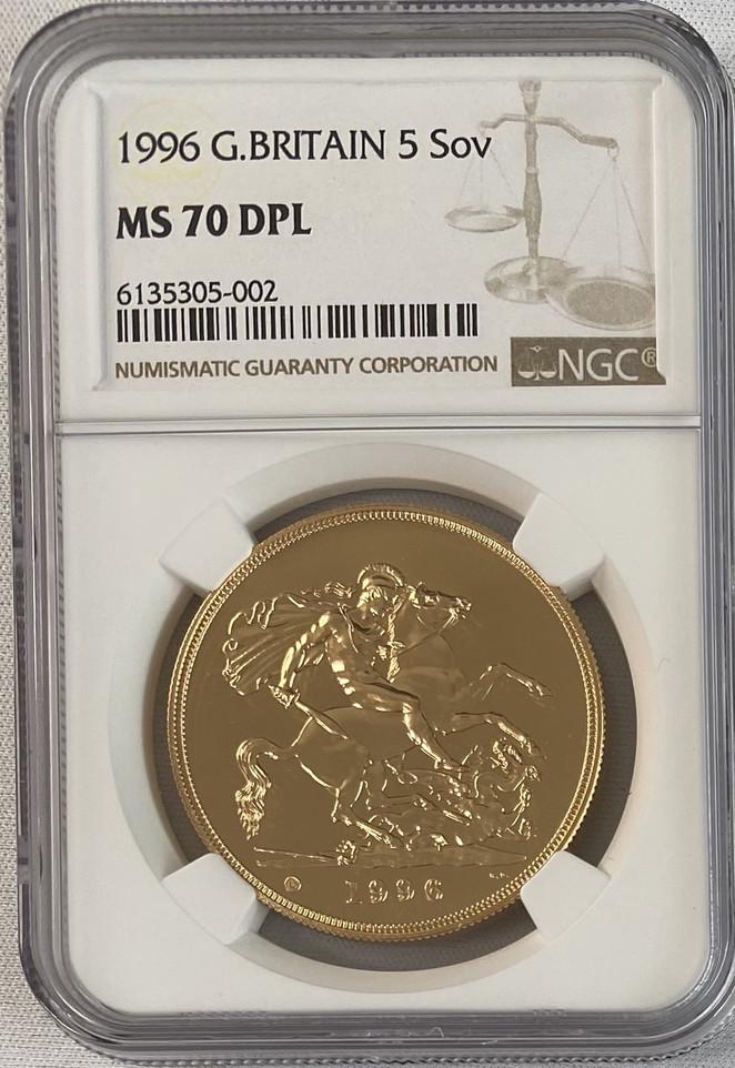 グレートブリテン 1996年エリザベス5ポンドプルーフ金貨NGC-MS70DPL