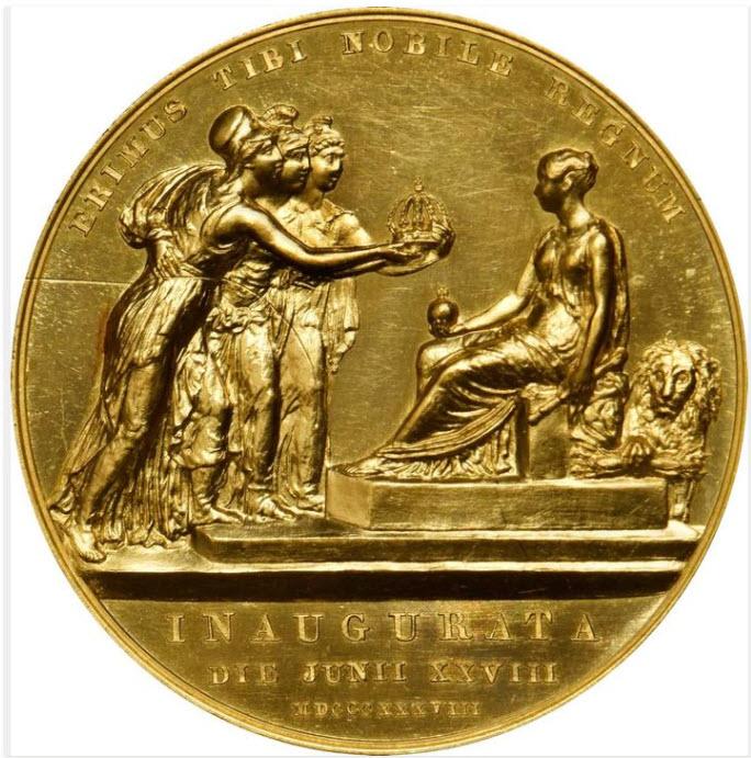 グレートブリテン1838年ヴィクトリア戴冠式ゴールドメダルPCGS-SP61