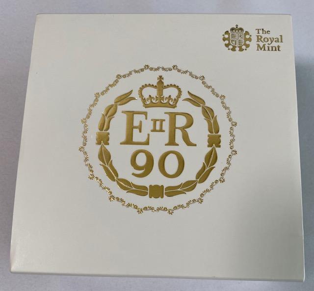グレートブリテン2016年エリザベスII世生誕90周年5ポンドプルーフ金貨PCGS-PR70DCAM箱付き
