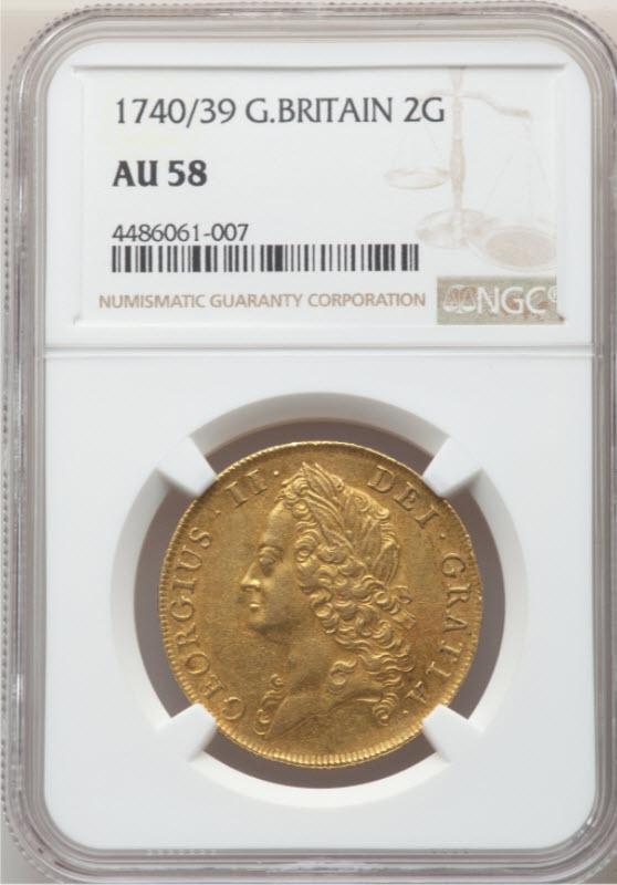 グレートブリテン1740/39年2ギニー金貨ジョージ2世 NGC-AU58