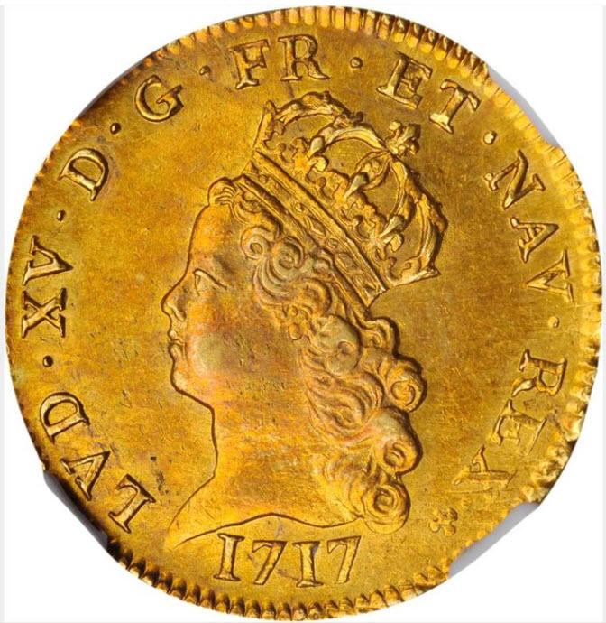 フランス1717-A年ルイ15世2ルイドール金貨NGC-AU58
