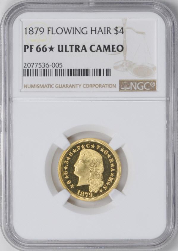 アメリカアンティークコイン4ドルステラ金貨1879 Stella $4 NGC PF 66スター UCAM フローイングヘア