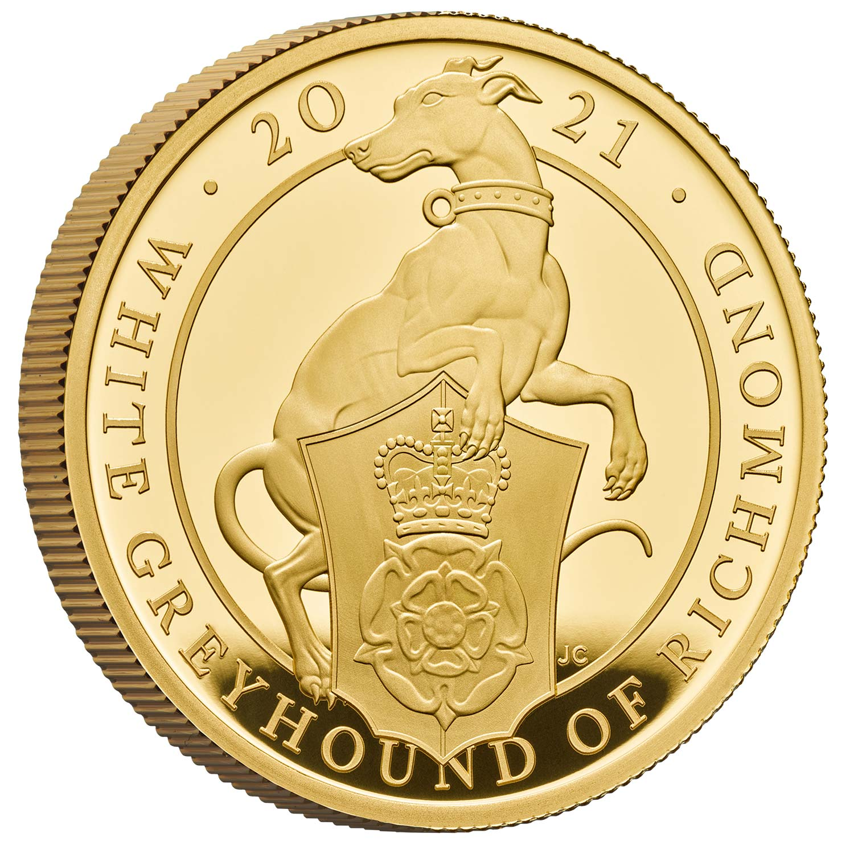 【動画あり】グレートブリテン クイーンズビースト-リッチモンドのホワイトグレーハウンド2021年 100ポンド金貨オリジナル箱つき2