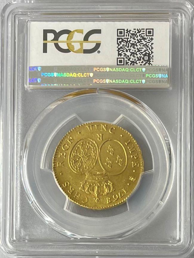 フランス 1768年 ルイ15世 2ルイドール金貨 1768/-R PCGS-MS63
