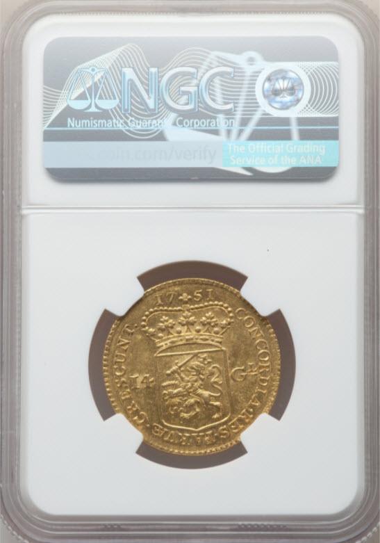 【動画あり】アンティークコイン オランダ1751年ライダー14ギルダー金貨NGC-MS61
