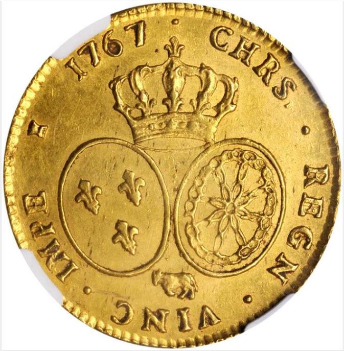フランス 1767(COW)年 ルイ15世 2ルイドール金貨 NGC-MS61