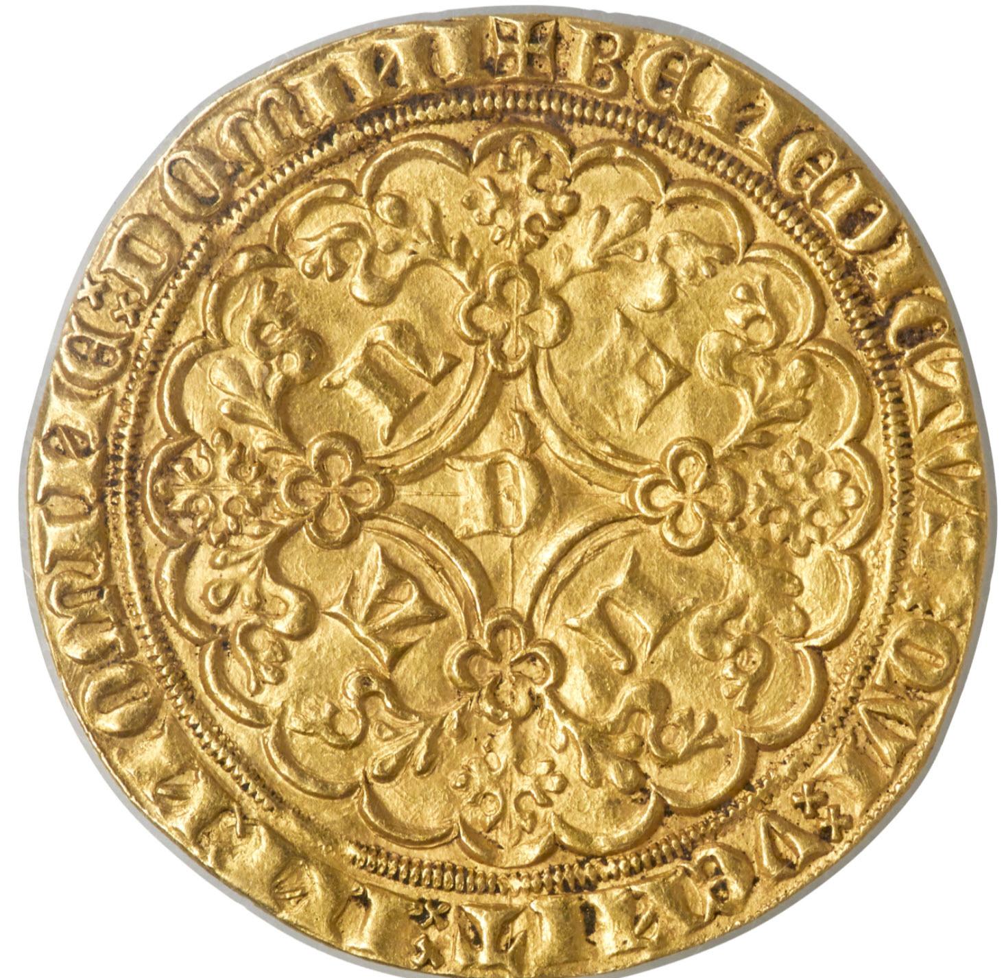 ベルギールイ2世(1346-1384)ゴールドライオンドールND-PCGS-MS62