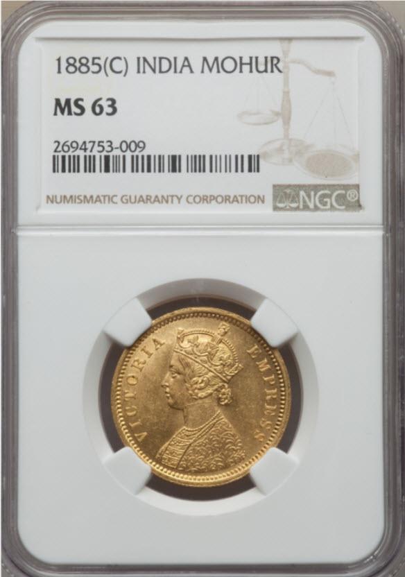 【動画ありトップグレード】英領インド 1モハール金貨 1885年 ヴィクトリアMS63 NGC