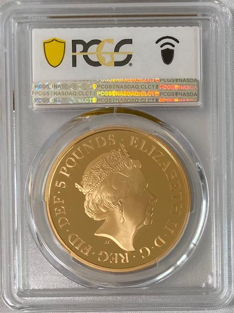 グレートブリテン2018年エリザベスII世ヘンリー王子とメーガン・マークル・ロイヤルウェディング5ポンドプルーフ金貨PCGS-PR70DCAM箱付き