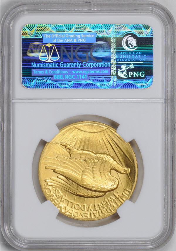 アンティークコイン アメリカ20ドル金貨セントゴーデンズ ハイリリーフ1907 $20 NGC MS67  FLAT Rim