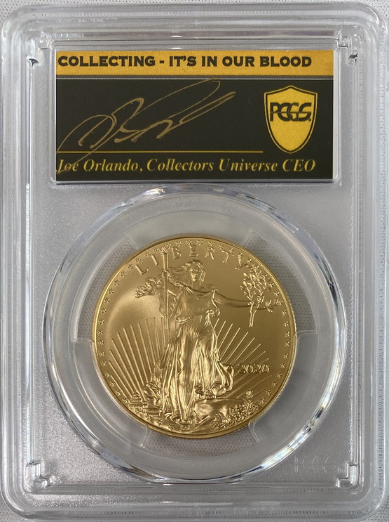 【動画あり】アメリカ50ドル金貨 ゴールドイーグル 2020年  $50PCGS MS70ファーストデイ ジョーオーランドサイン入り39819880