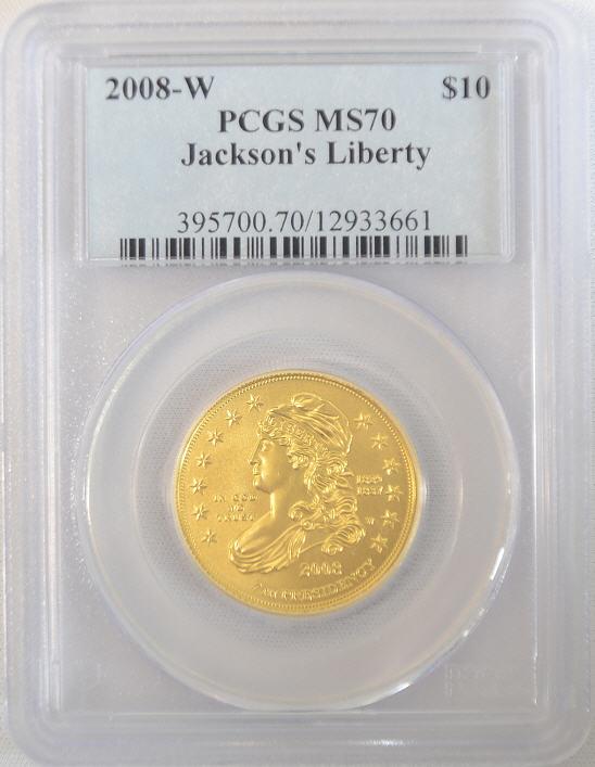 【動画あり】2008-W ジャクソンズ・リバティ10ドル金貨 $10 PCGS MS70