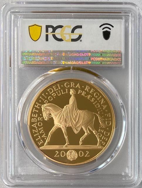 グレートブリテン2002年馬上のエリザベスII世ゴールデンジュビリーヘッド5ポンドプルーフ金貨PCGS-PR70DCAM