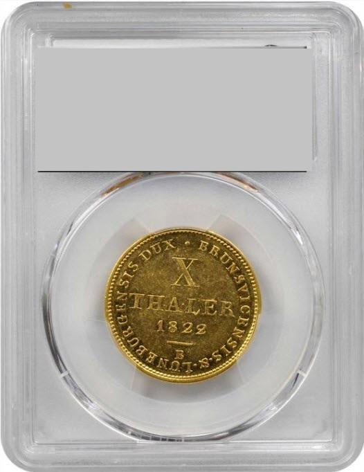 ドイツハノーファー1822-B年ジョージ4世10ターラー金貨PCGS-AU55